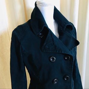H&M women's black peacoat jacket cotton twill 10